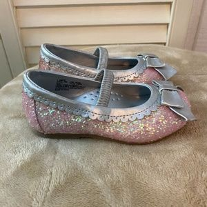 L'Amour Pink Mary Jane Sparkle Chunky Flat